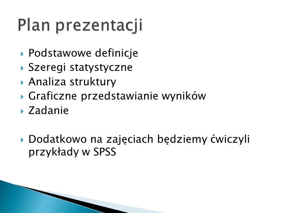Plan prezentacji Podstawowe definicje Szeregi statystyczne