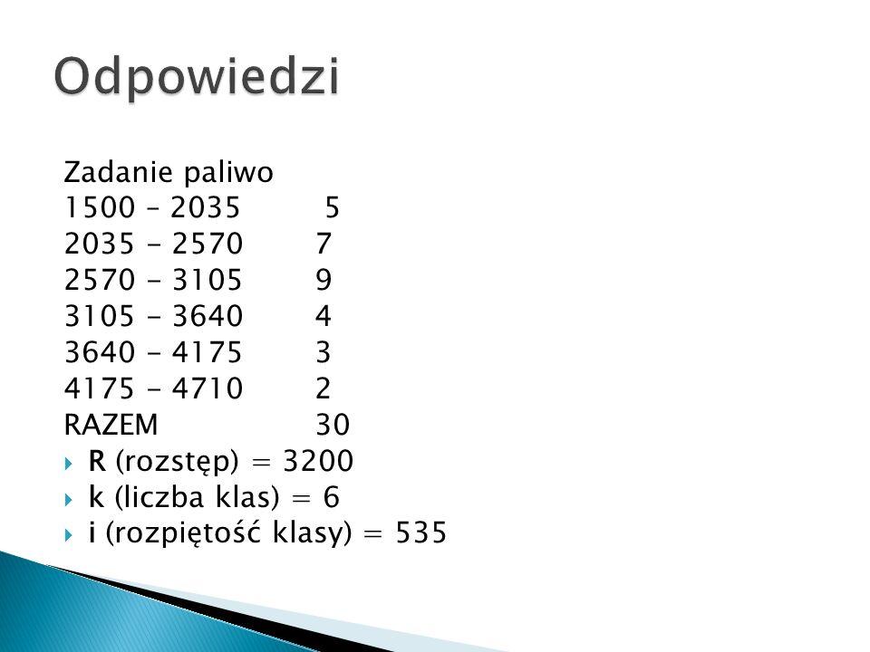 Odpowiedzi Zadanie paliwo 1500 – 2035 5 2035 - 2570 7 2570 - 3105 9