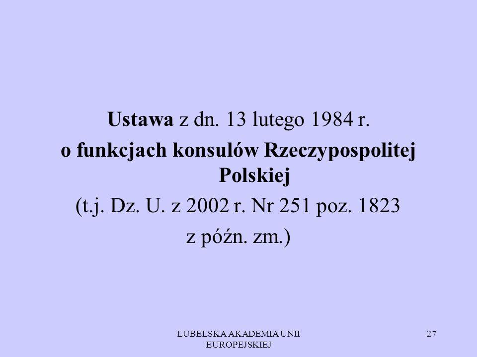 o funkcjach konsulów Rzeczypospolitej Polskiej