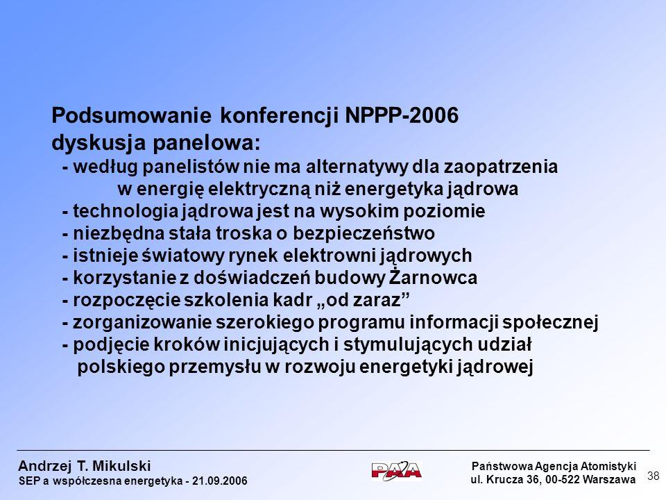 Podsumowanie konferencji NPPP-2006 dyskusja panelowa: