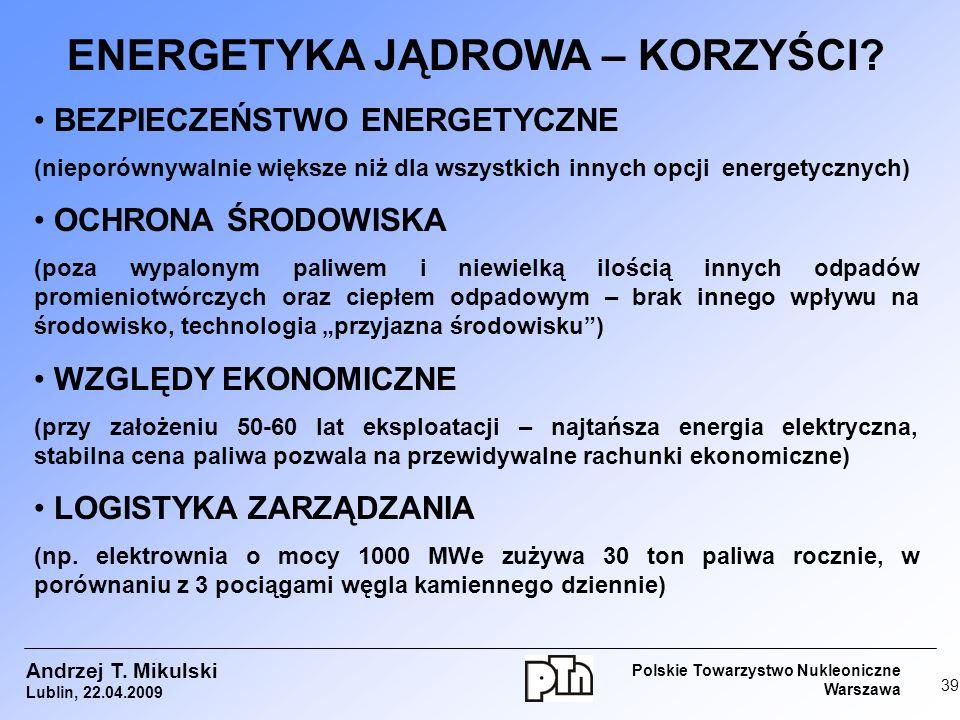 ENERGETYKA JĄDROWA – KORZYŚCI