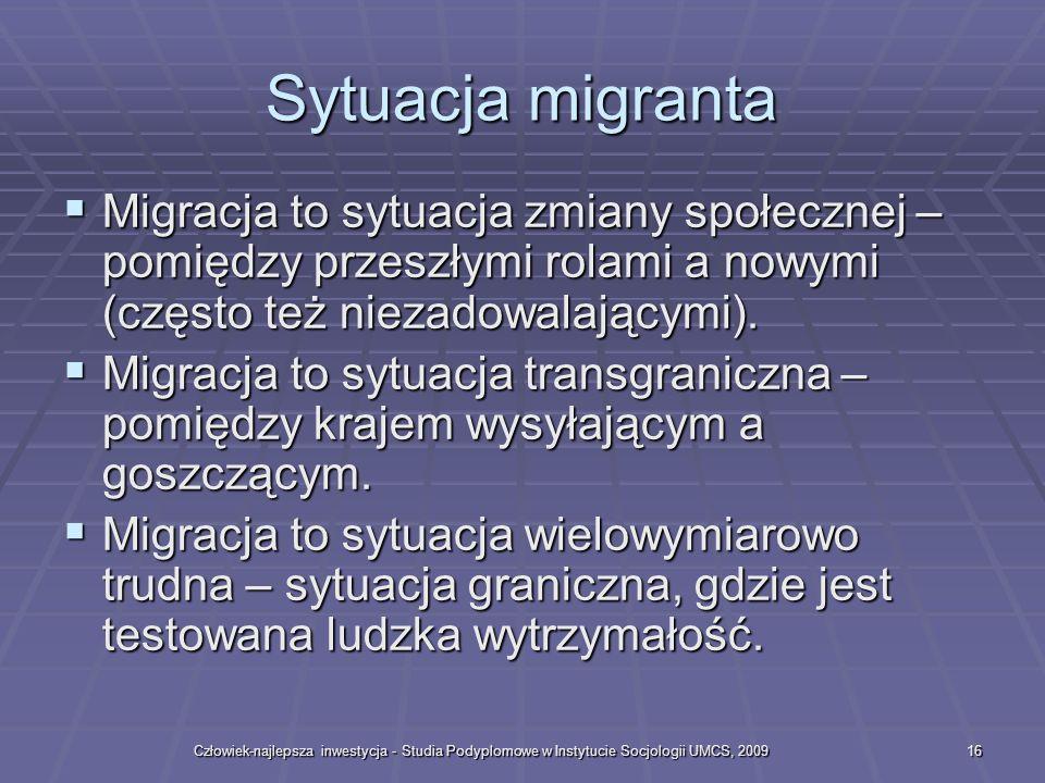 Sytuacja migranta Migracja to sytuacja zmiany społecznej – pomiędzy przeszłymi rolami a nowymi (często też niezadowalającymi).