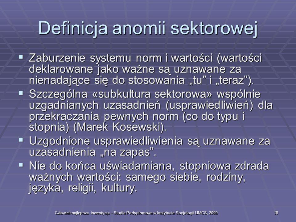 Definicja anomii sektorowej