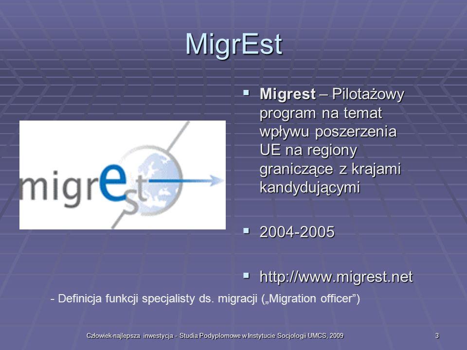 MigrEst Migrest – Pilotażowy program na temat wpływu poszerzenia UE na regiony graniczące z krajami kandydującymi.