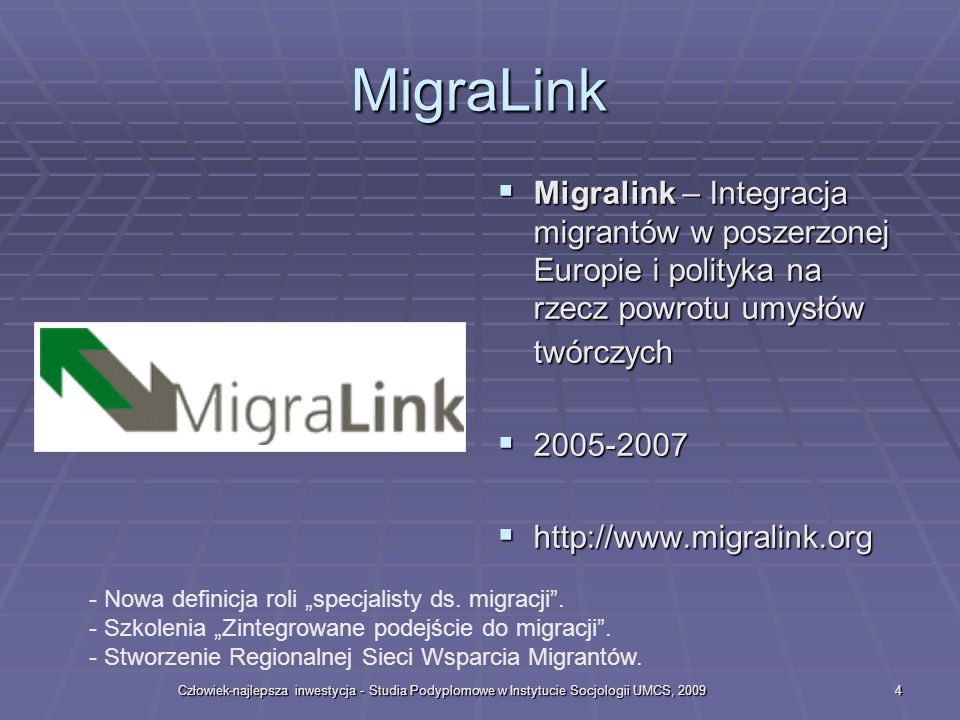 MigraLink Migralink – Integracja migrantów w poszerzonej Europie i polityka na rzecz powrotu umysłów twórczych.