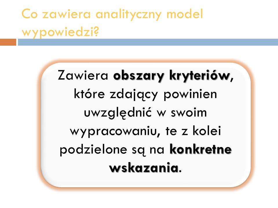 Co zawiera analityczny model wypowiedzi