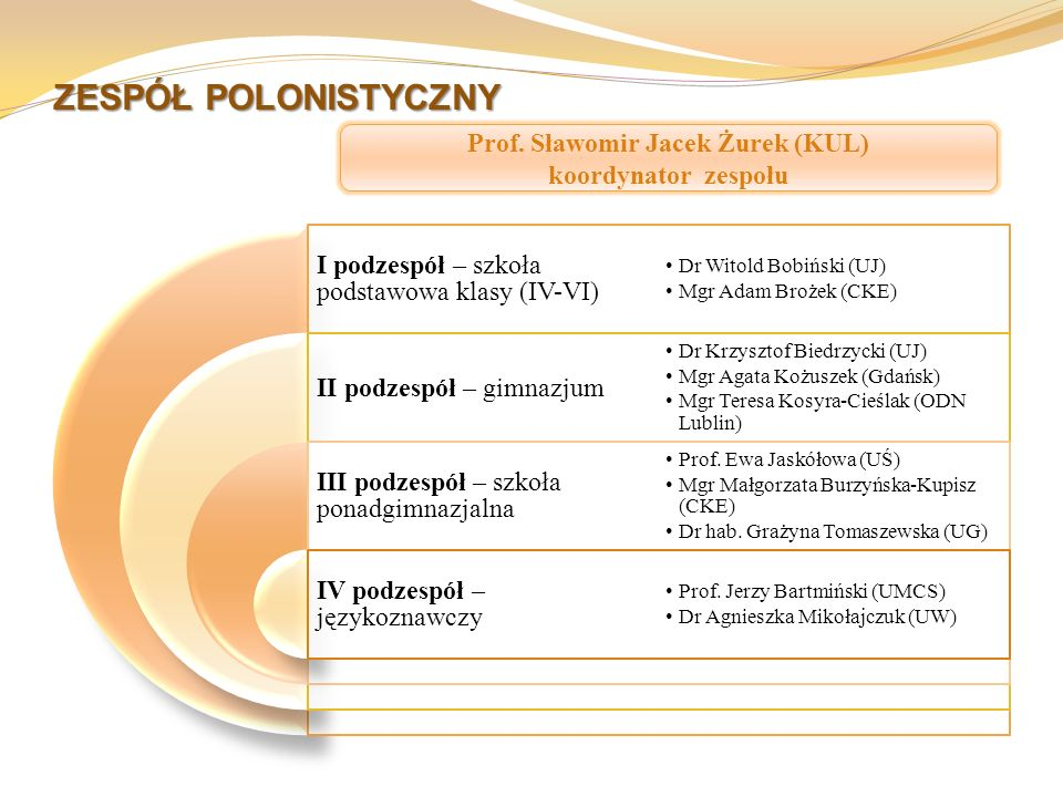 Prof. Sławomir Jacek Żurek (KUL) koordynator zespołu