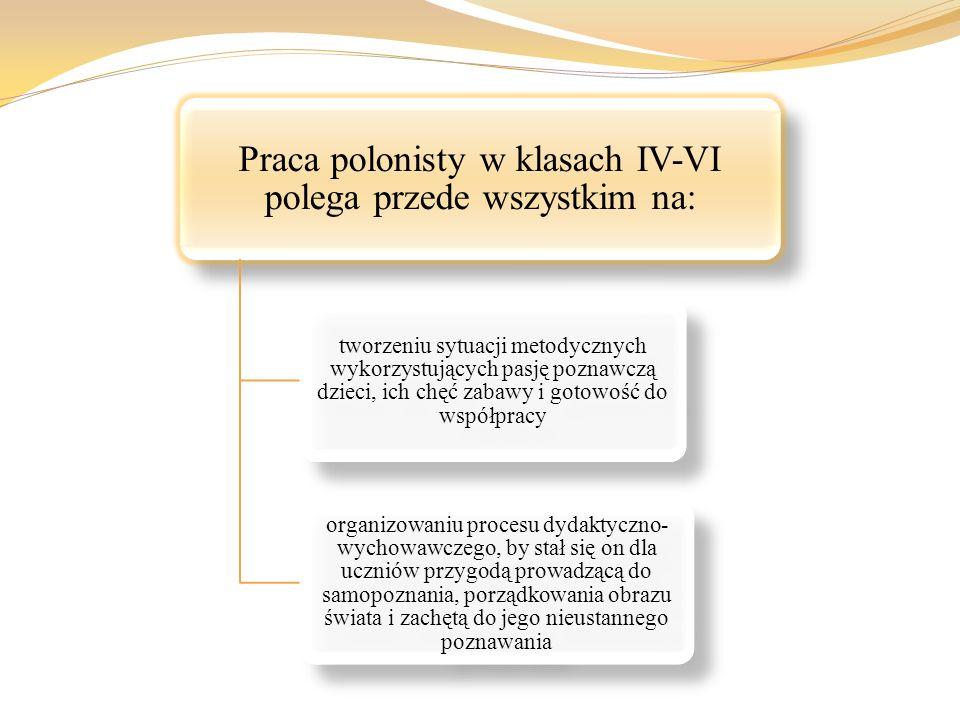 Praca polonisty w klasach IV-VI polega przede wszystkim na: