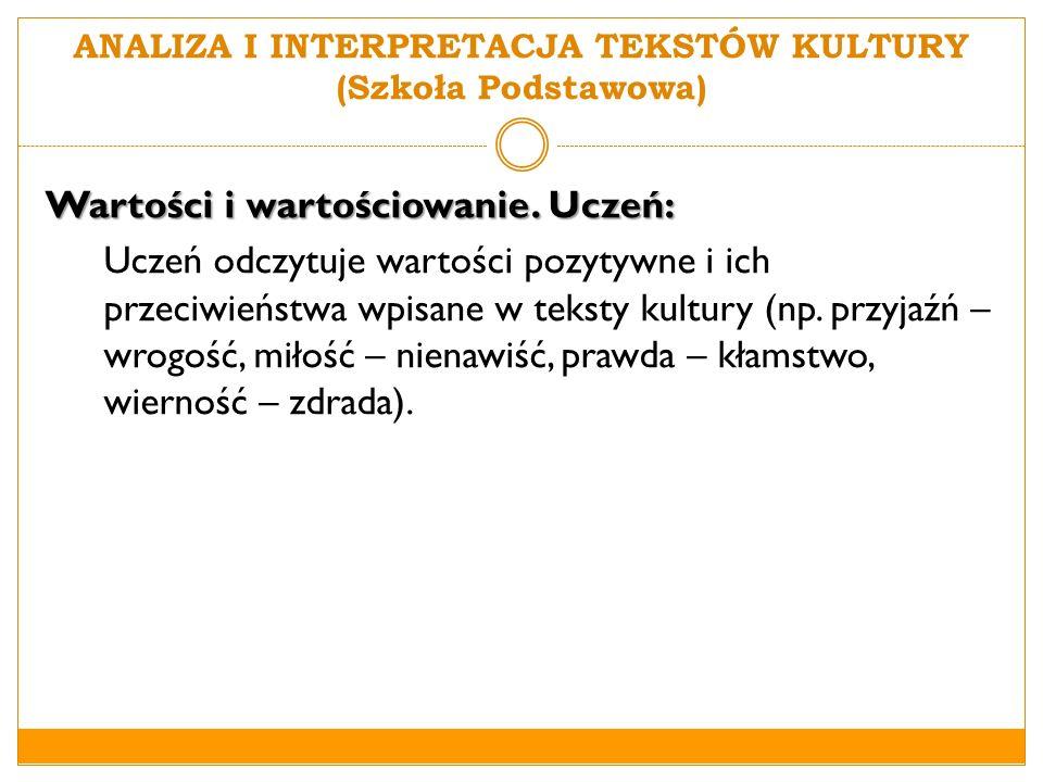 ANALIZA I INTERPRETACJA TEKSTÓW KULTURY (Szkoła Podstawowa)