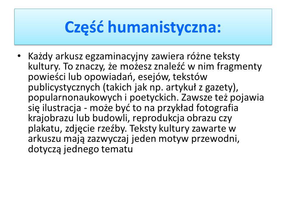 Część humanistyczna: