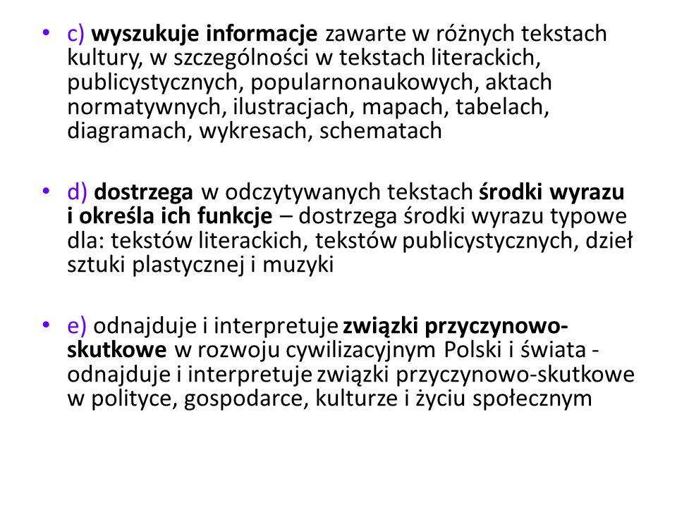 c) wyszukuje informacje zawarte w różnych tekstach kultury, w szczególności w tekstach literackich, publicystycznych, popularnonaukowych, aktach normatywnych, ilustracjach, mapach, tabelach, diagramach, wykresach, schematach