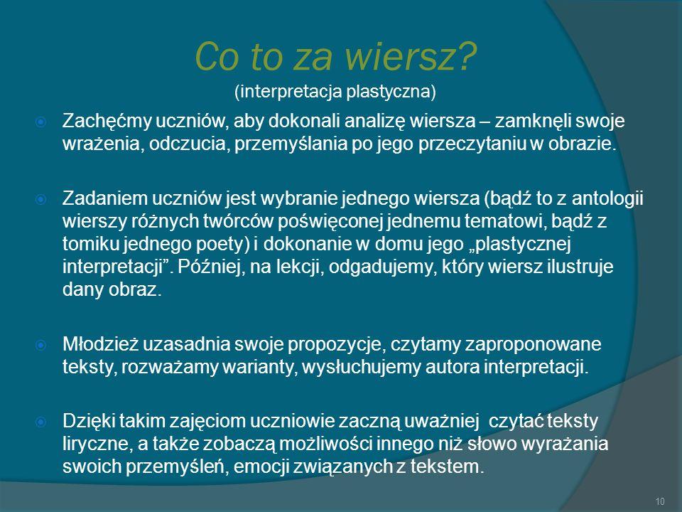 Co to za wiersz (interpretacja plastyczna)
