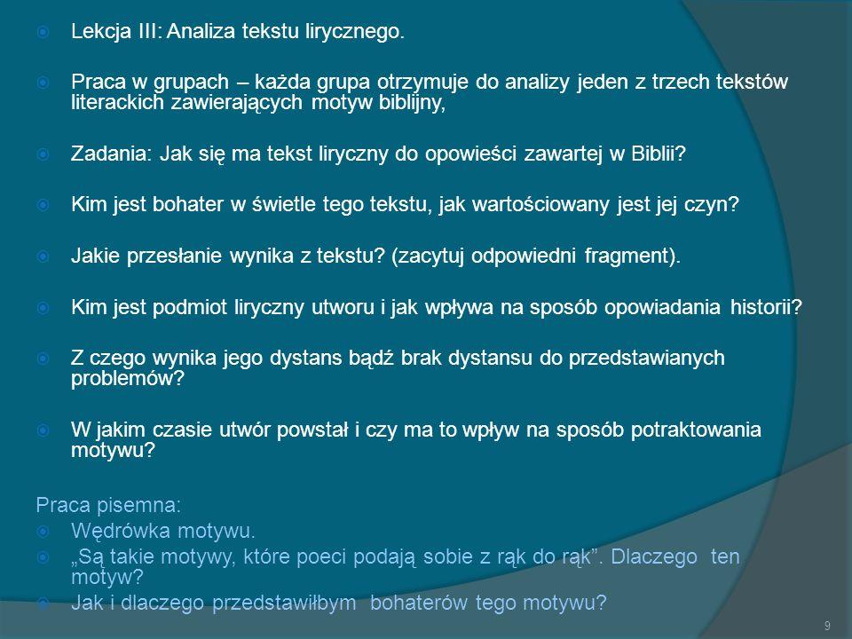 Lekcja III: Analiza tekstu lirycznego.