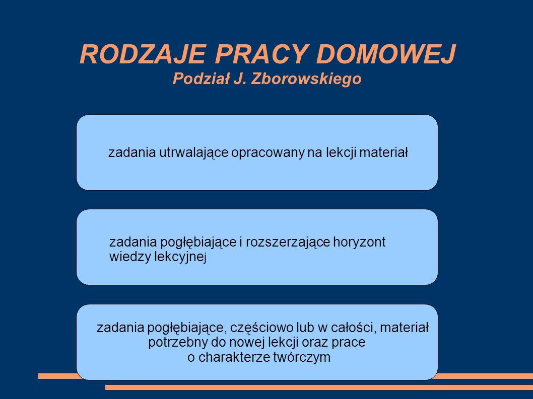 RODZAJE PRACY DOMOWEJ Podział J. Zborowskiego