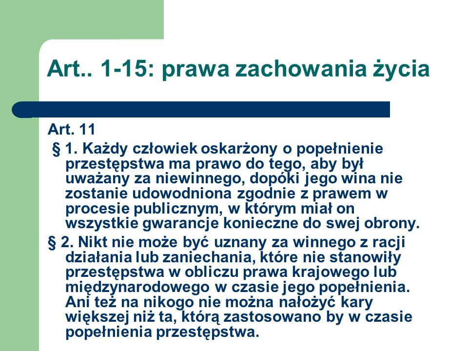 Art.. 1-15: prawa zachowania życia