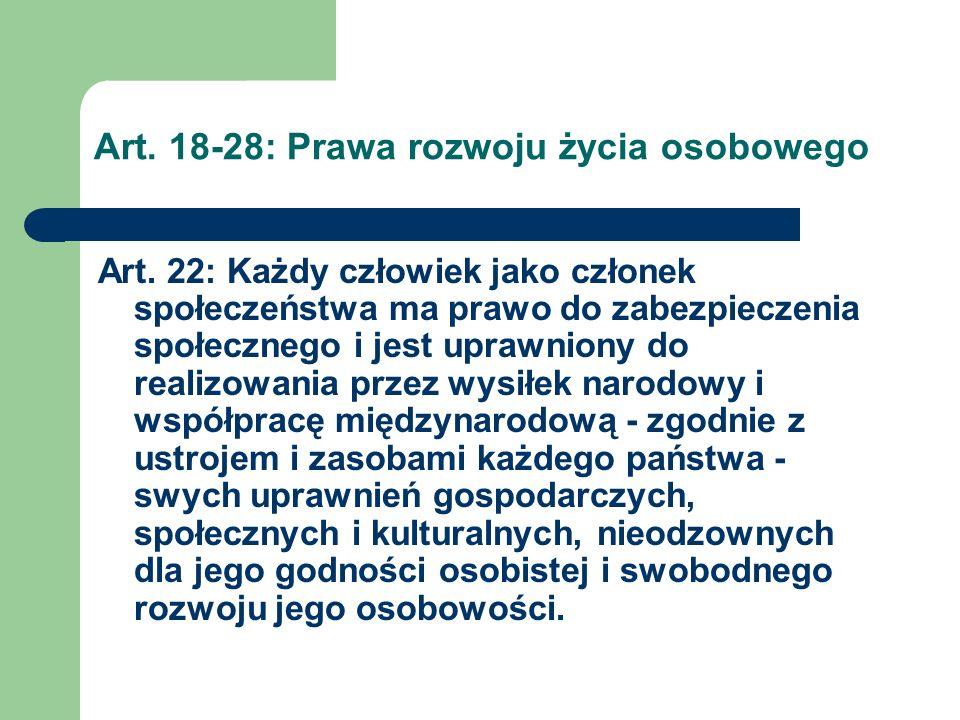 Art. 18-28: Prawa rozwoju życia osobowego