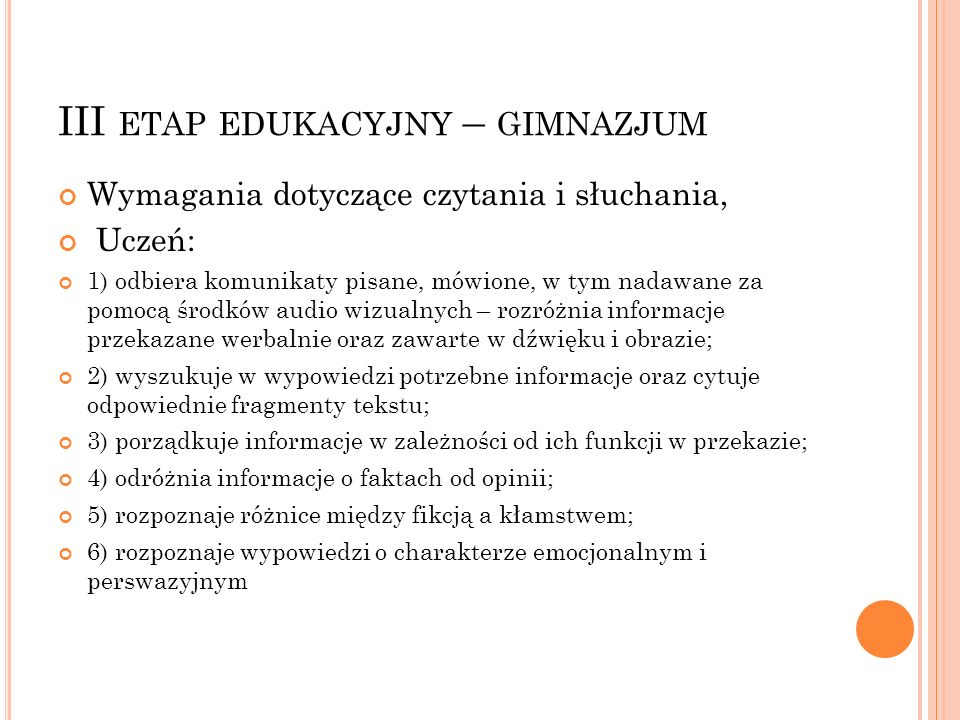 III etap edukacyjny – gimnazjum