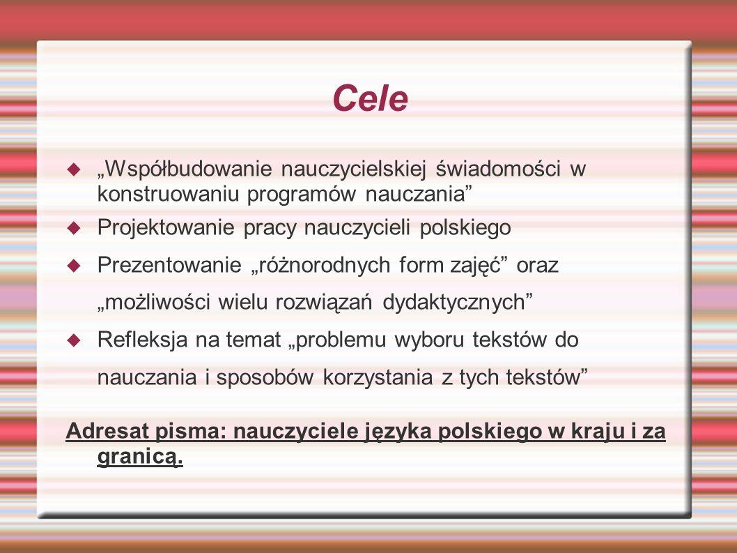 """Cele """"Współbudowanie nauczycielskiej świadomości w konstruowaniu programów nauczania Projektowanie pracy nauczycieli polskiego."""