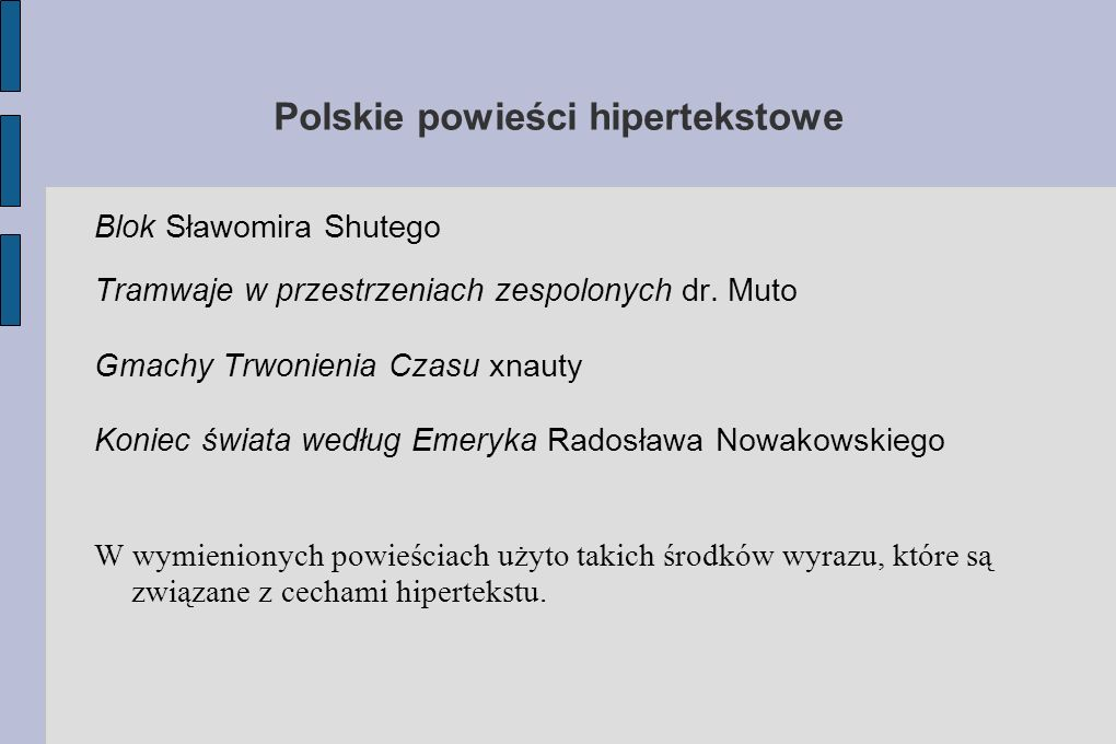 Polskie powieści hipertekstowe