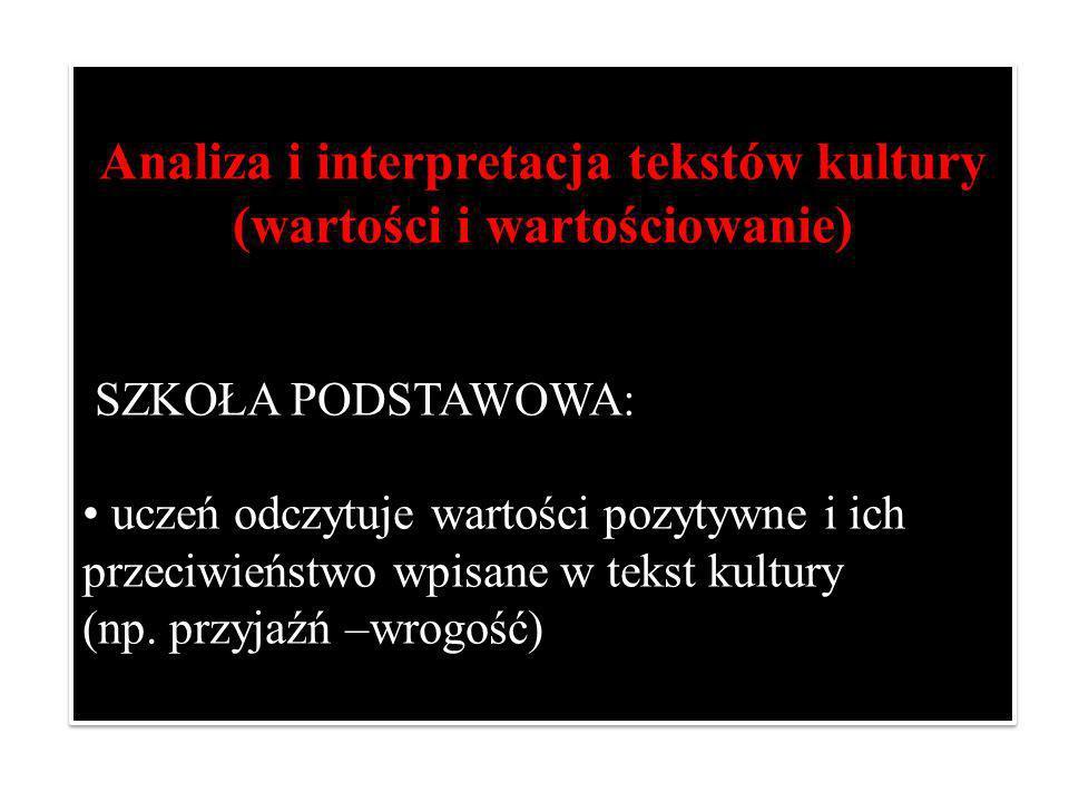 Analiza i interpretacja tekstów kultury (wartości i wartościowanie)