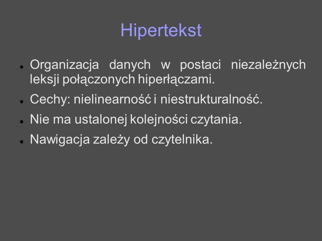 HipertekstOrganizacja danych w postaci niezależnych leksji połączonych hiperłączami. Cechy: nielinearność i niestrukturalność.