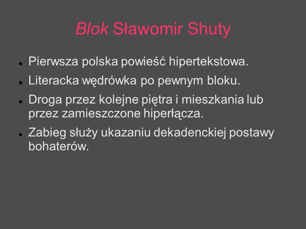 Blok Sławomir Shuty Pierwsza polska powieść hipertekstowa.
