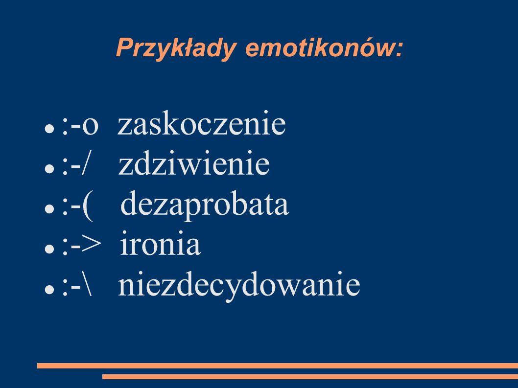 Przykłady emotikonów: