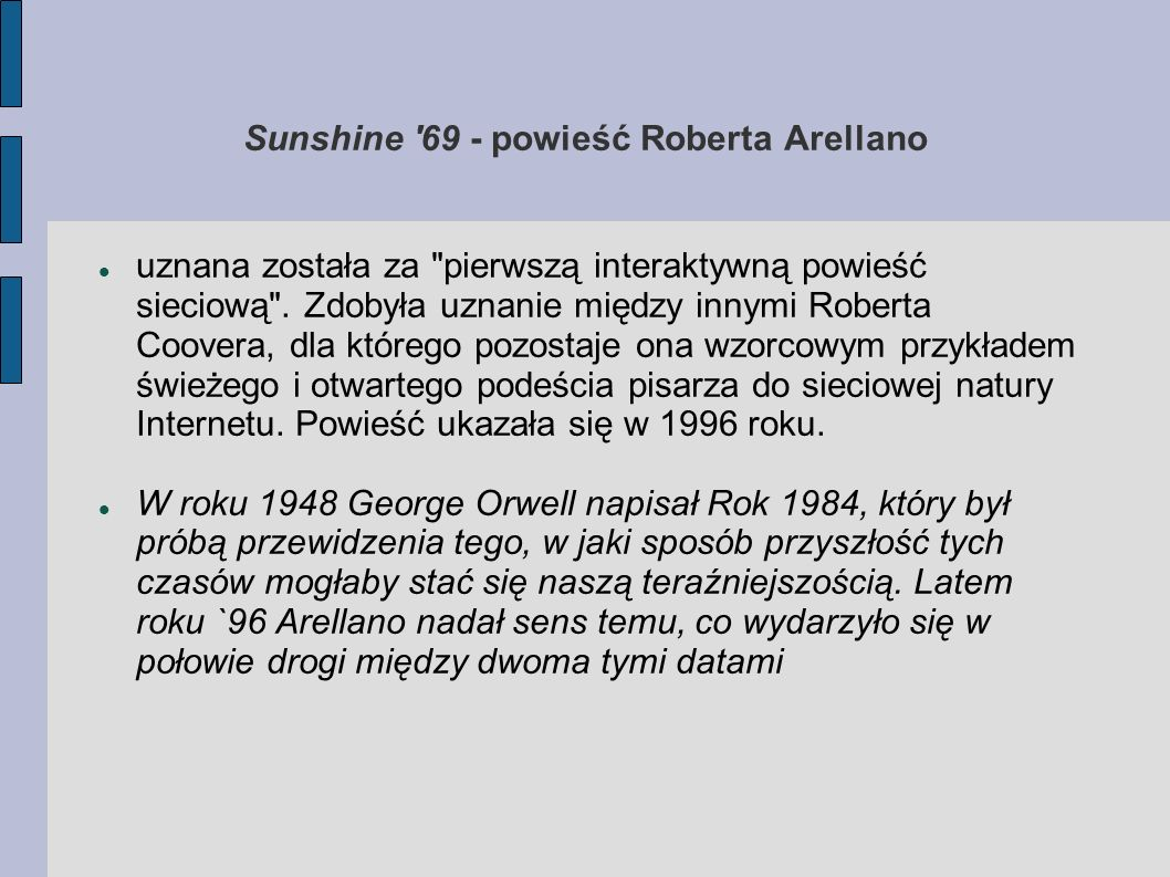 Sunshine 69 - powieść Roberta Arellano