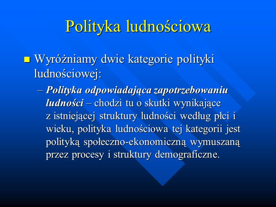 Polityka ludnościowa Wyróżniamy dwie kategorie polityki ludnościowej: