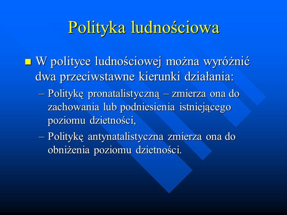 Polityka ludnościowa W polityce ludnościowej można wyróżnić dwa przeciwstawne kierunki działania: