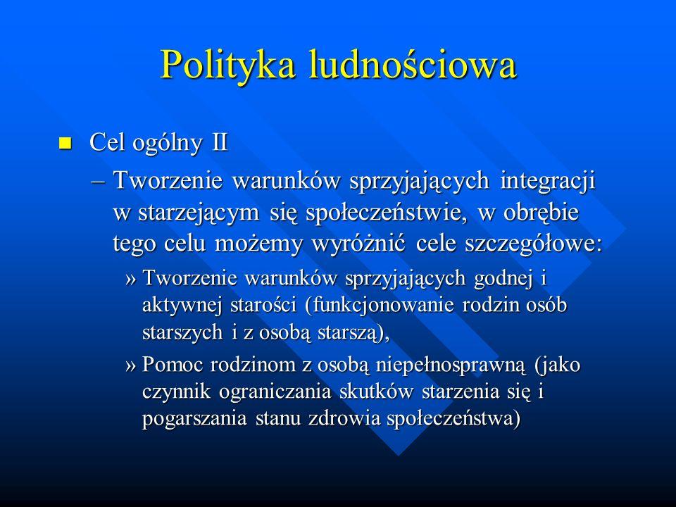Polityka ludnościowa Cel ogólny II