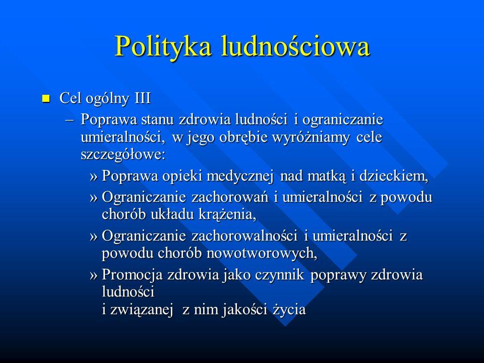 Polityka ludnościowa Cel ogólny III