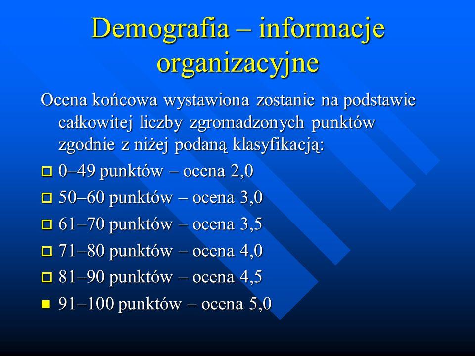 Demografia – informacje organizacyjne