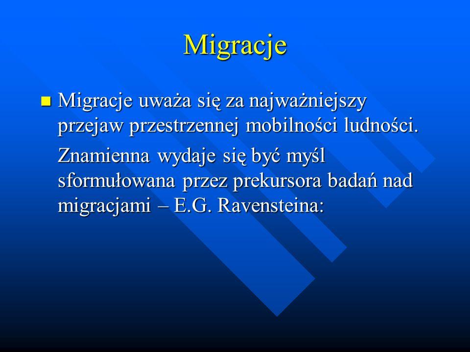 Migracje Migracje uważa się za najważniejszy przejaw przestrzennej mobilności ludności.