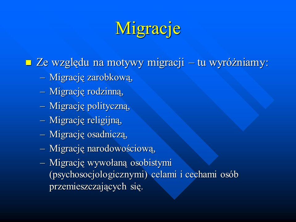 Migracje Ze względu na motywy migracji – tu wyróżniamy:
