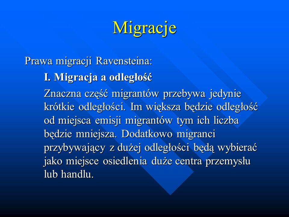 Migracje Prawa migracji Ravensteina: I. Migracja a odległość