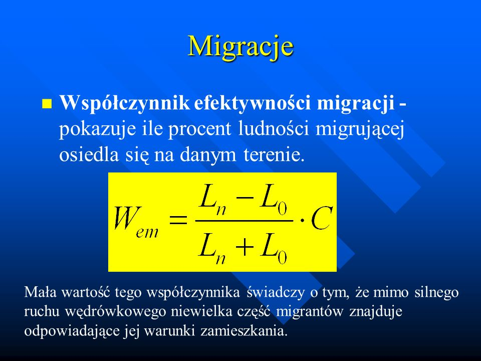 Migracje Współczynnik efektywności migracji - pokazuje ile procent ludności migrującej osiedla się na danym terenie.