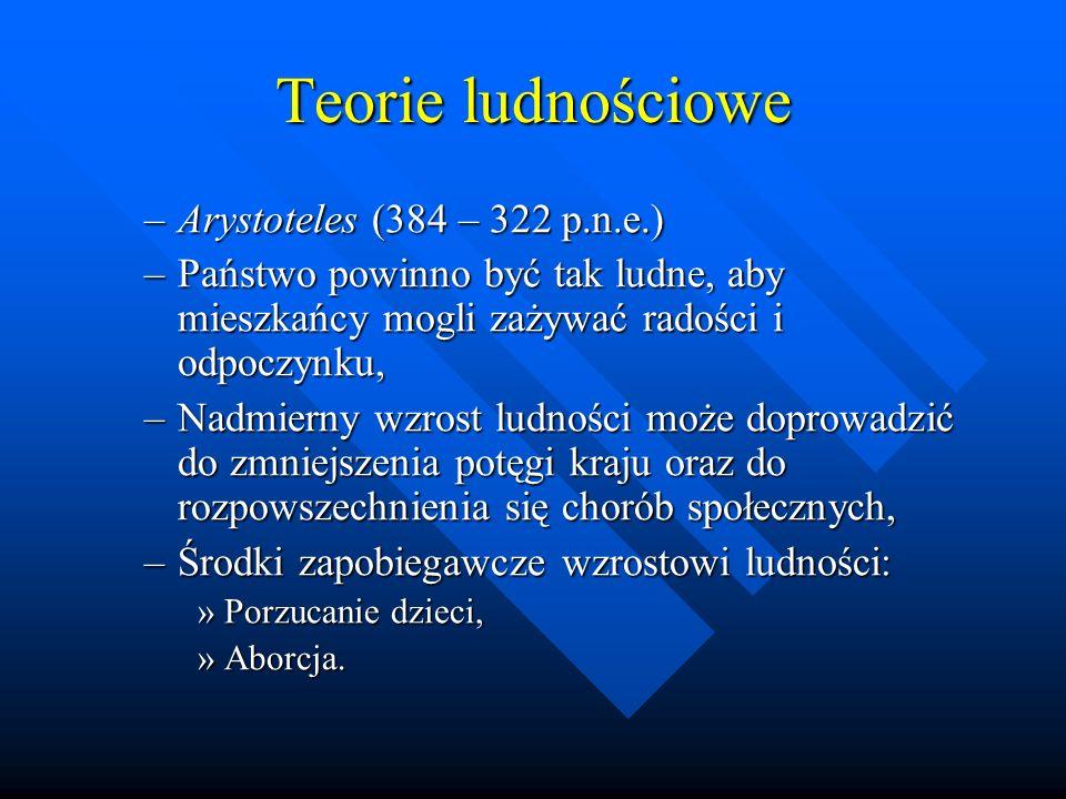 Teorie ludnościowe Arystoteles (384 – 322 p.n.e.)