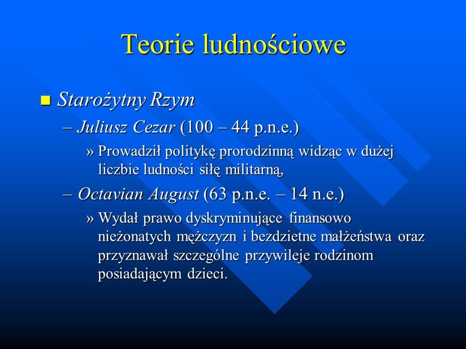 Teorie ludnościowe Starożytny Rzym Juliusz Cezar (100 – 44 p.n.e.)