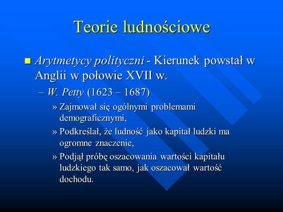 Teorie ludnościowe Arytmetycy polityczni - Kierunek powstał w Anglii w połowie XVII w. W. Petty (1623 – 1687)