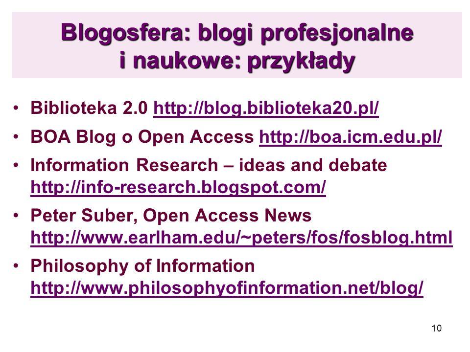 Blogosfera: blogi profesjonalne i naukowe: przykłady