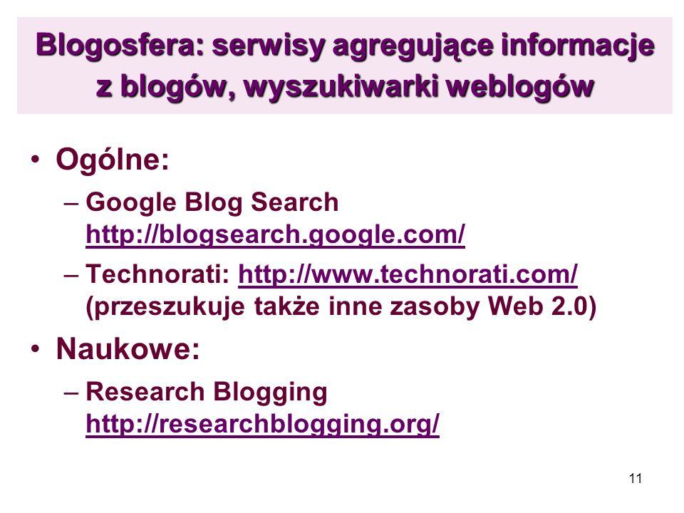 Blogosfera: serwisy agregujące informacje z blogów, wyszukiwarki weblogów