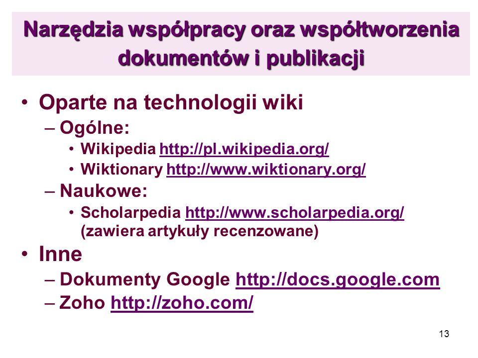 Narzędzia współpracy oraz współtworzenia dokumentów i publikacji