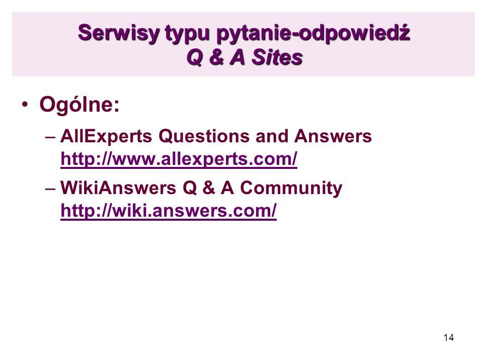Serwisy typu pytanie-odpowiedź Q & A Sites