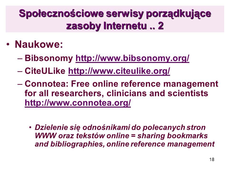 Społecznościowe serwisy porządkujące zasoby Internetu .. 2