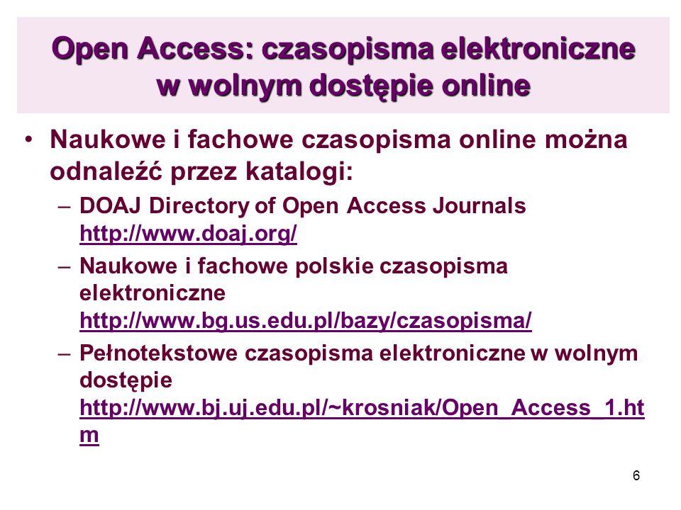 Open Access: czasopisma elektroniczne w wolnym dostępie online