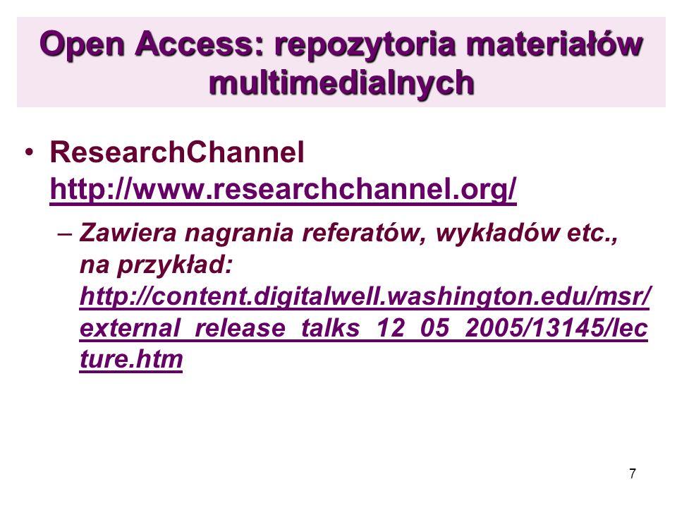 Open Access: repozytoria materiałów multimedialnych