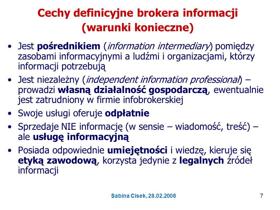 Cechy definicyjne brokera informacji (warunki konieczne)