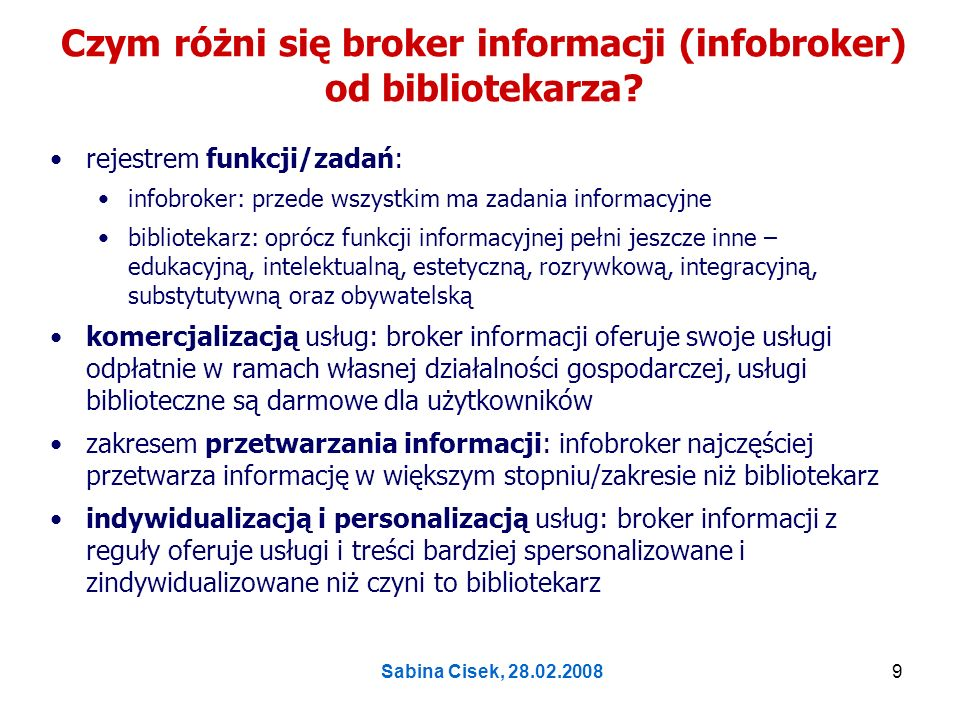 Czym różni się broker informacji (infobroker) od bibliotekarza