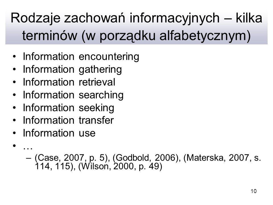 Rodzaje zachowań informacyjnych – kilka terminów (w porządku alfabetycznym)